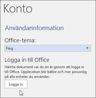 Skärmbild som visar kontoinformation i Word