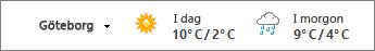 Väderfältet visar temperaturer i Celsius