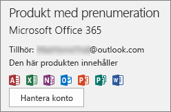 Visar det e-postkonto som är kopplat till Office