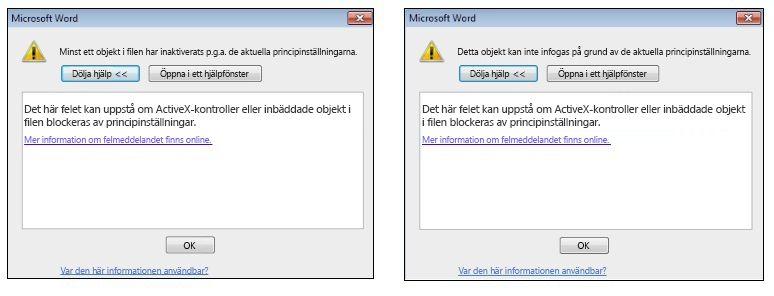 Felmeddelande för inbäddade objekt för ActiveX-kontroll