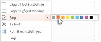 Färgkoda en stödlinje genom att välja en färg