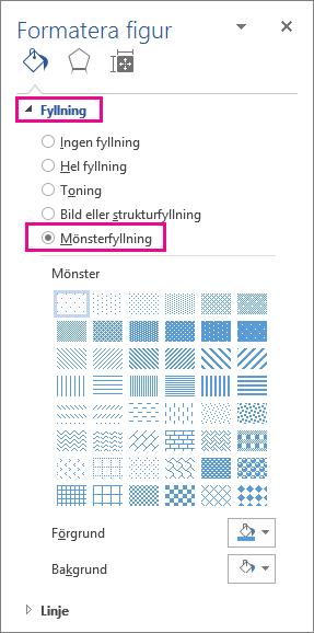 Välja mönsterfyllning i fönstret Formatera figur