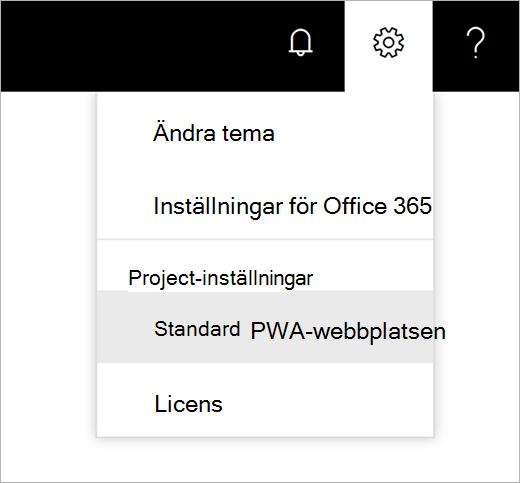 Skärm bild av menyn Inställningar kuggare med pekaren välja standard-PWA-webbplats