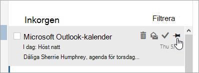 En skärmbild av fästalternativet i meddelandelistan