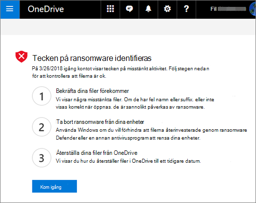 Skärm bild av skärmen tecken på utpressnings tro Jan på OneDrive-webbplatsen