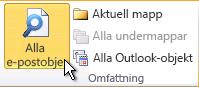 Alla e-postobjekt i menyfliksområdet