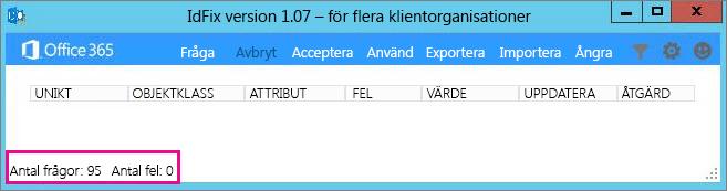IdFix-fråga och antal fel.
