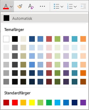 Menyalternativ för teckenfärg i OneNote Online.