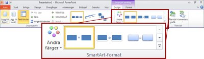 Fliken Design under SmartArt-verktyg