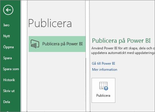 Fliken Publicera i Excel 2016 med knappen Publicera på Power BI