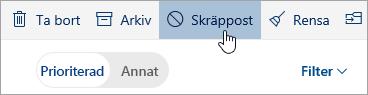 En skärmbild av knappen Skräppost