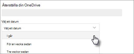 Skärmbild av att välja ett datum på Återställ skärmen OneDrive