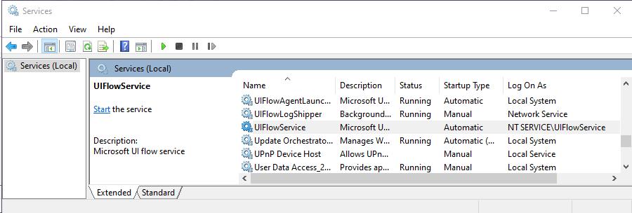 UIFlowService körs inte