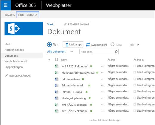 En bild av hur Dokument-biblioteket ser ut när du överför filer till det.
