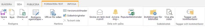 Skärmdump på fliken Sida som innehåller en mängd knappar för att redigera, spara, checka in och checka ut publiceringssidor