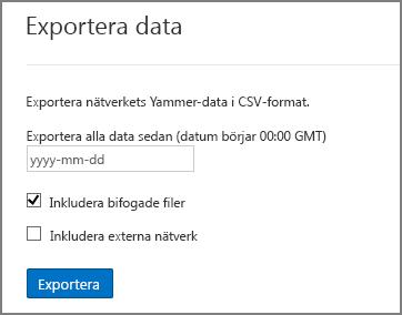 Exportera data från Yammer-nätverk