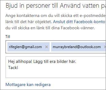Skriva e-postadresser och ett meddelande för att skicka en länk med e-post