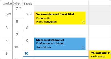 Kalender med 3 tidszoner till vänster och möten på höger sida