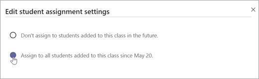 Välj om du vill tilldela elever som lagts till i den här klassen.
