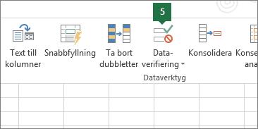 Verifiera listrutan genom att klicka på Data > Dataverifiering i Excel