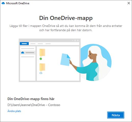 Skärmen Det här är din OneDrive-mapp i guiden Välkommen till OneDrive