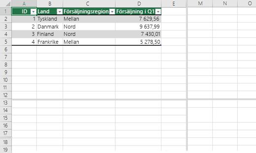 Dela fönsterrutor i en Excel-arbetsbok