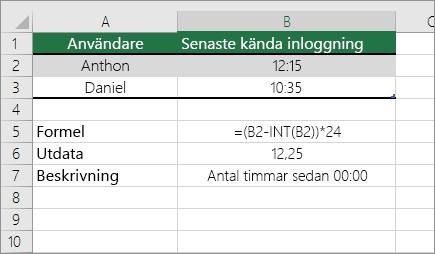 Exempel: konvertera timmar från vanligt tids format till ett decimal tal