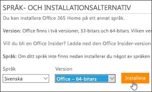 Skärmbild som visar alternativen Språk och Version och knappen Installera