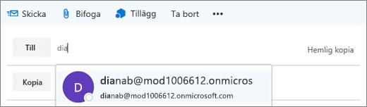 Skärmbilden visar raden Till i ett e-postmeddelande med alternativet för att ta bort mottagarens e-postadress.  I fältet Till tillhandahåller funktionen Komplettera automatiskt e-postadressen för mottagaren, baserat på de första bokstäverna i mottagarens namn.
