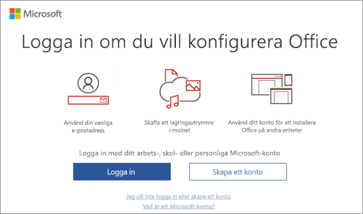 """Visar sidan """"Konfigurera Office genom att logga in"""" som kan visas efter att du installerat Office"""