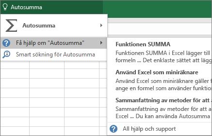 Få hjälp i Excel