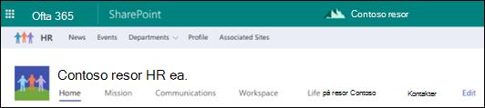 Delad navigering i SharePoint Hub-webbplatsen