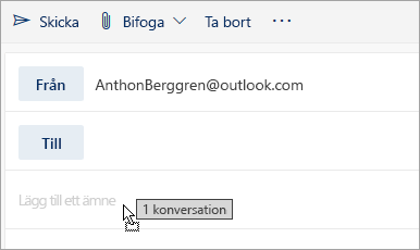 En skärmbild av ett meddelande som dras till fönstret Skriv