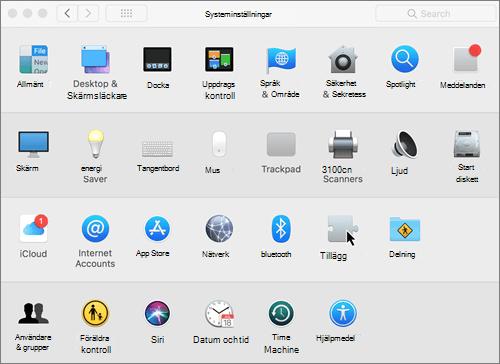 Skärmbild av Systeminställningar på en Mac