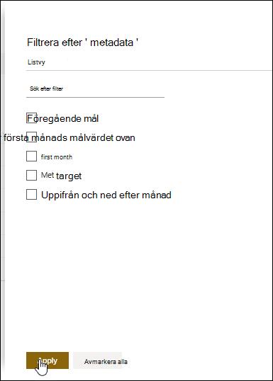 Fönstret Metadatafilter