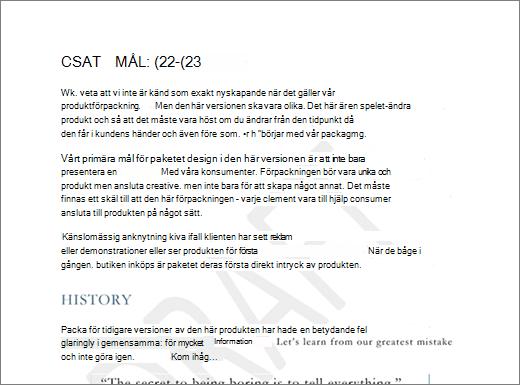 Exempel på vattenstämpeln utkast på en sida med text