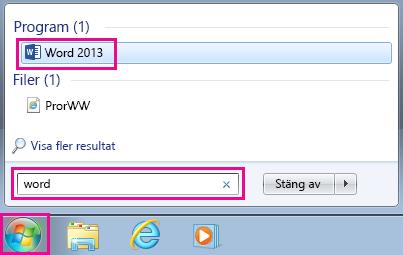 Sök efter Office-program i Windows 7