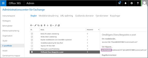 Skärmbilden visar sidan Regler i området E-postflöde i administrationscentret för Exchange. Kryssrutan På är markerad för regeln om att omdirigera e-post för användaren Diana Bergqvist.