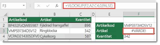 Felvärdet #VÄRDEFEL! visas när col_index_argument är mindre än 1