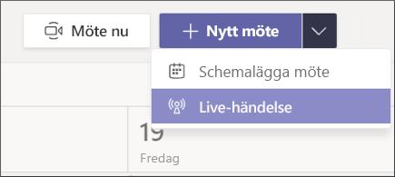 Nytt möte – knappen Live Event