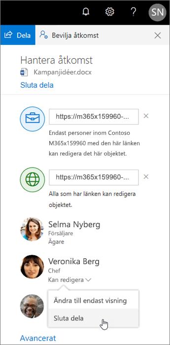 Ändra eller sluta dela i OneDrive