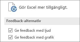 Delvy av inställningar för Hjälpmedel i Excel.