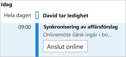 Visar knappen Anslut online för möten