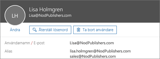 Den här användaren har en primär adress och två aliasadresser.