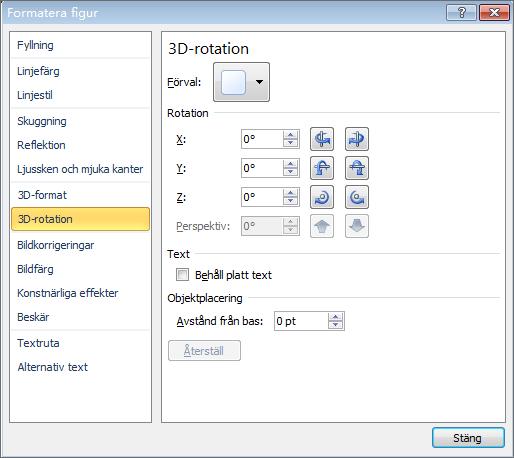 3D-rotation i dialogrutan Formatera figur