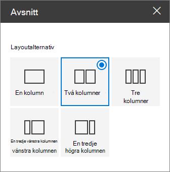Avsnittet layout fönstret