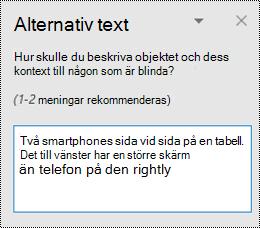 Fönstret alternativ text i Outlook för Windows.