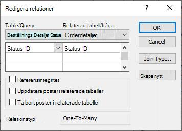 Dialogrutan Redigera relationer visas med en befintlig relation