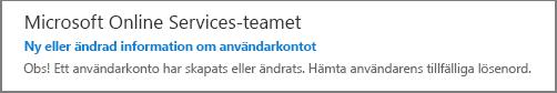 Du får ett e-postmeddelande från Microsoft Online Services-teamet.