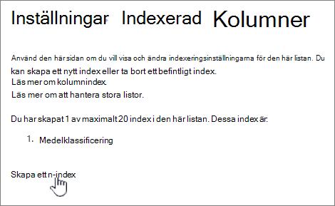 Indexerade kolumner sida med skapa ett nytt index markerad